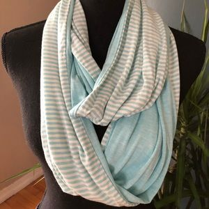 Women's Teal and Off White infinity Scarf